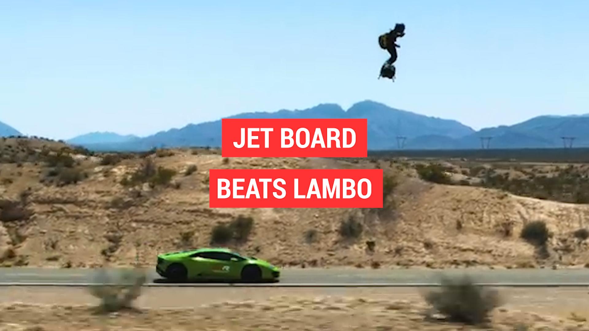 103 MPH jet board races Lamborghini in the desert