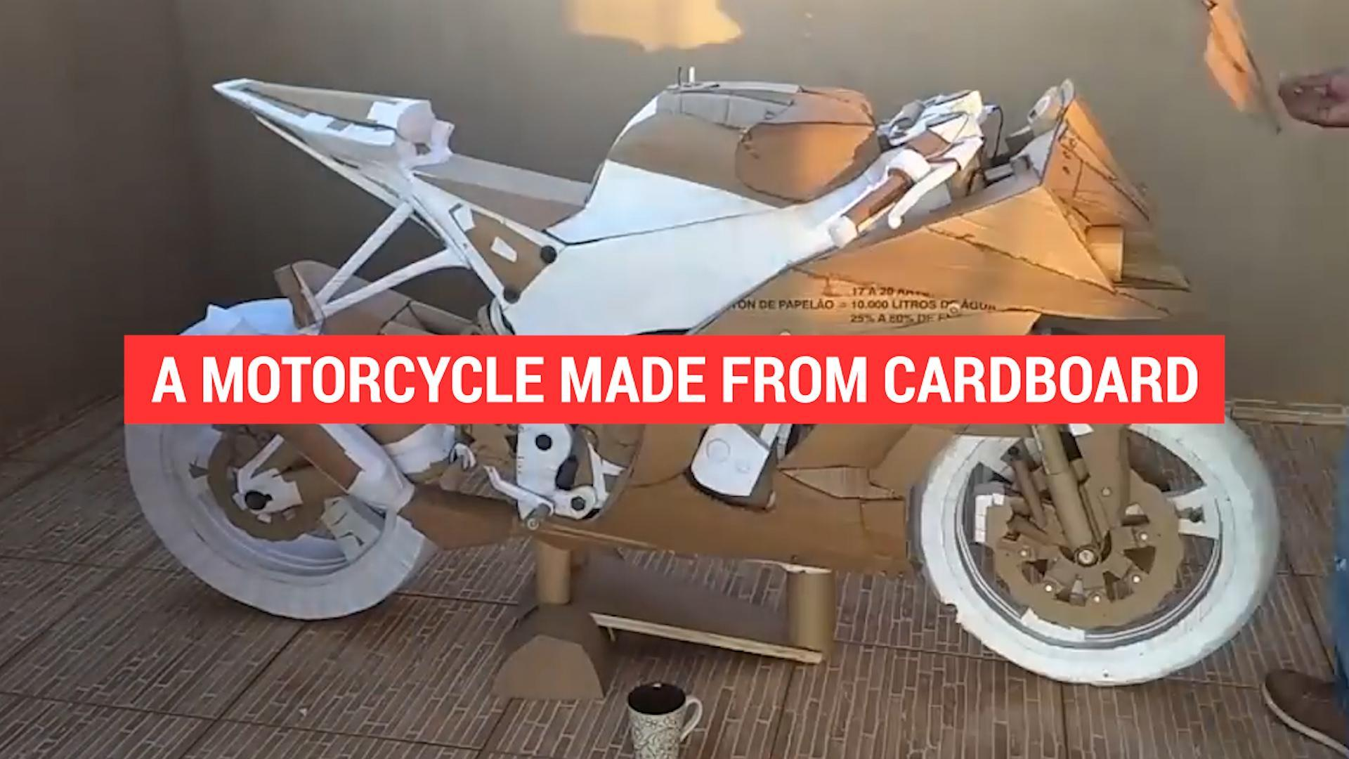 A motorcycle made from cardboard