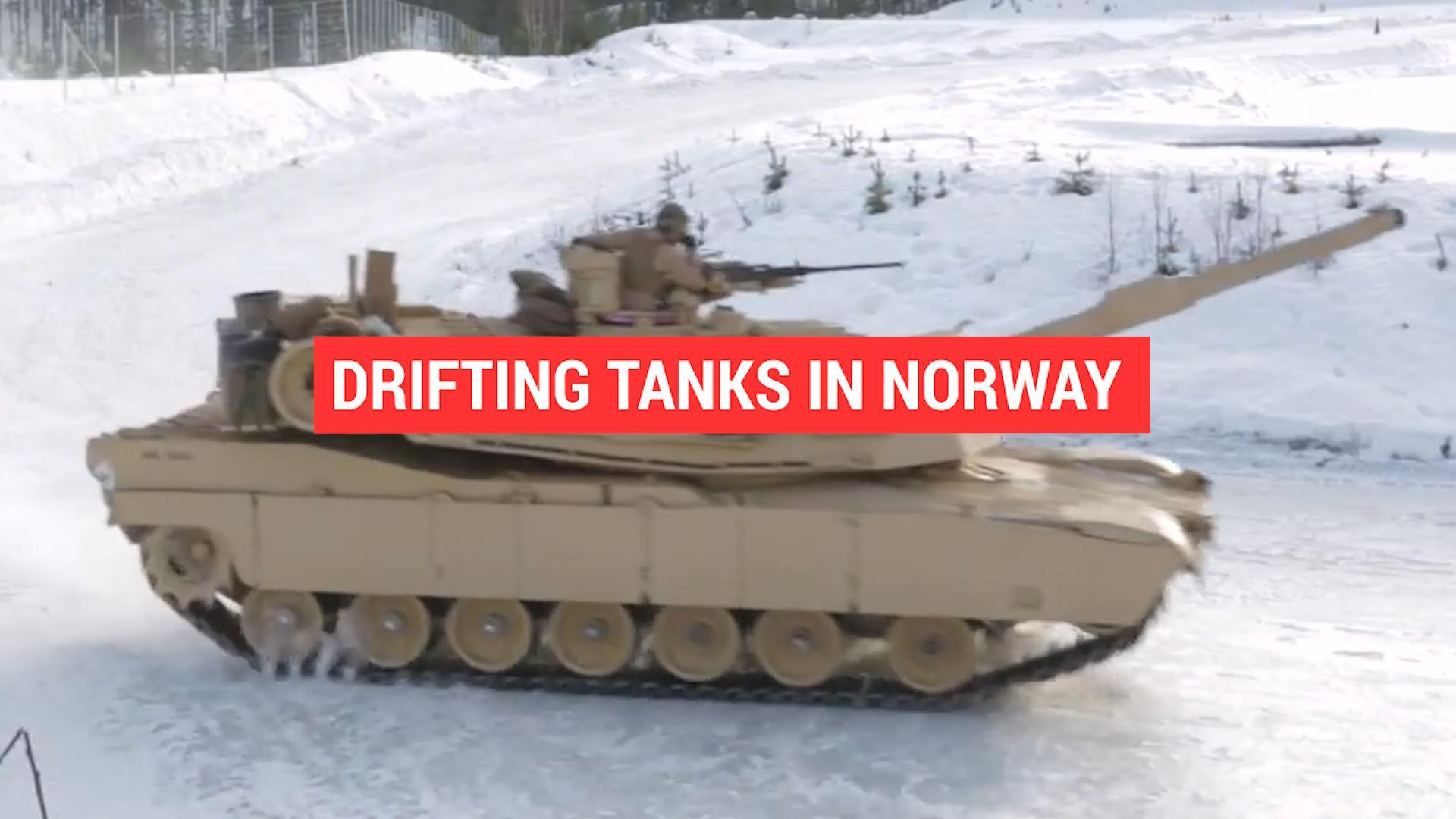 Drifting tanks on ice is a form of training (probably)