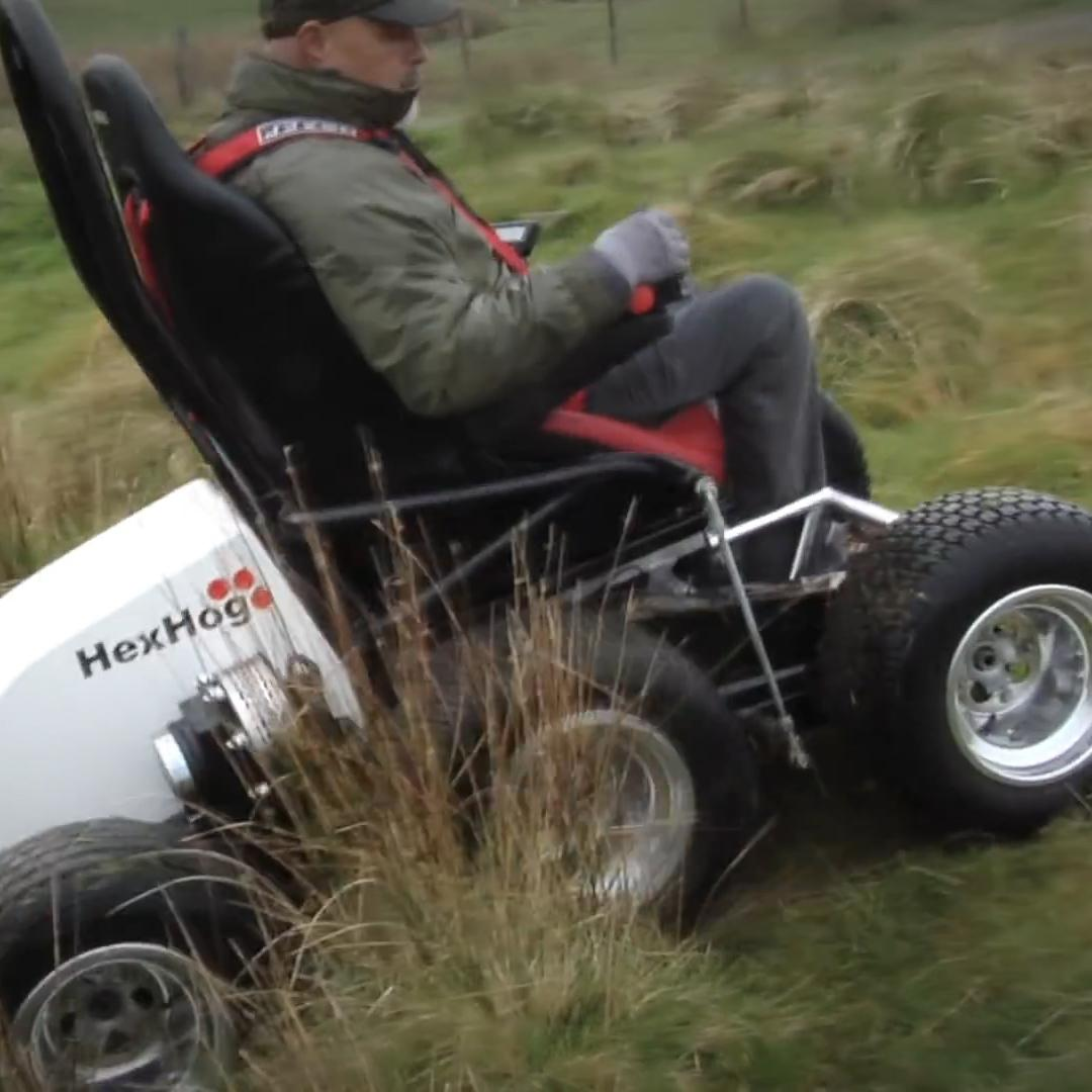 This wheelchair has 6 wheels and can travel off-road