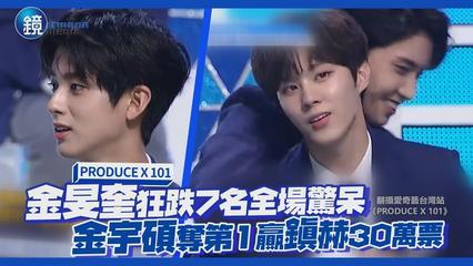 鏡娛樂 PRODUCE X 101》金旻奎狂跌7名全場驚呆 金宇碩奪第1贏鎭赫30萬票
