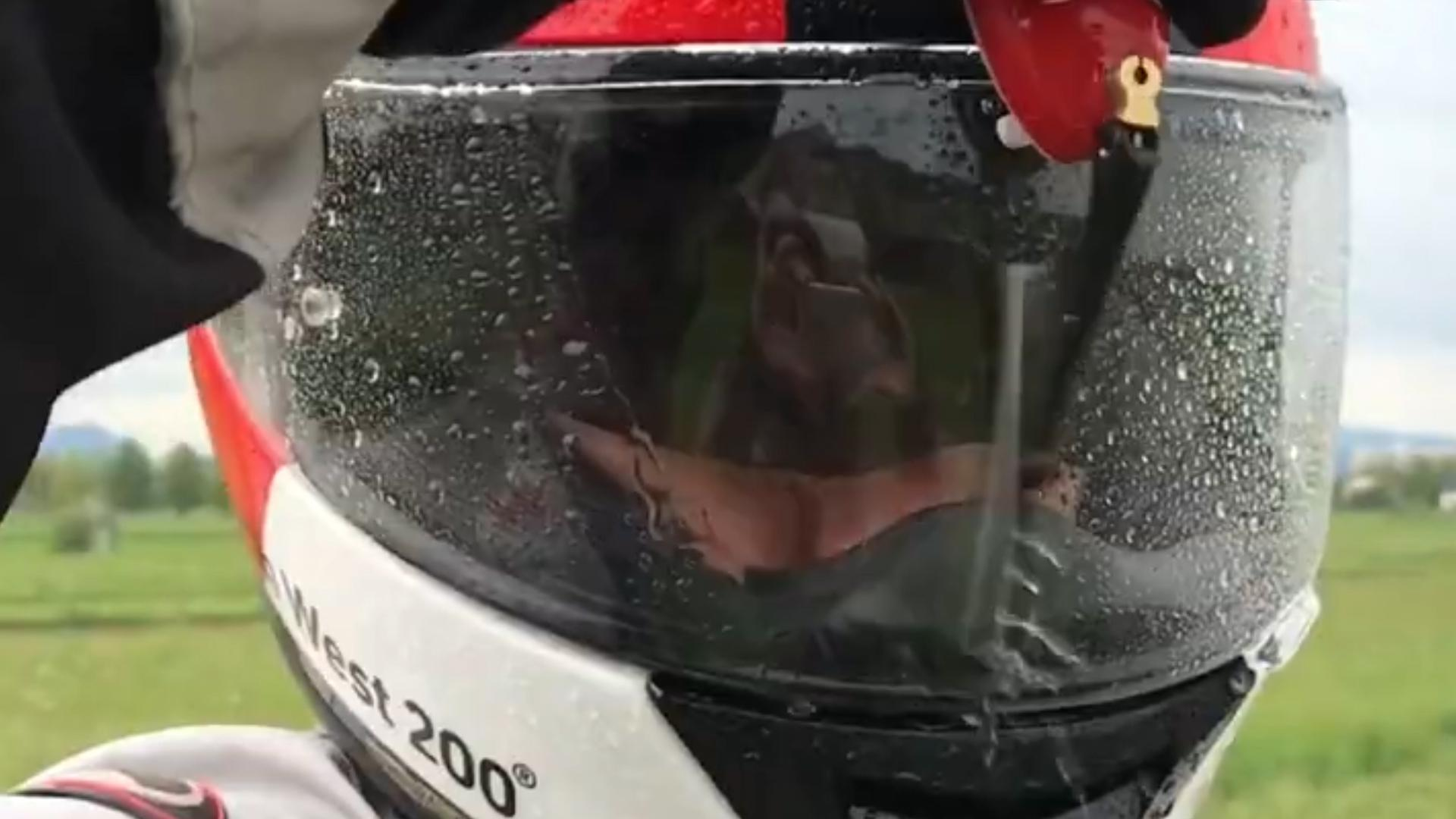 """You can now get a """"windshield"""" wiper for your motorcycle helmet"""