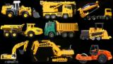 Learn Construction Vehicles For Kids Children Babies Toddlers With Truck Bulldozer Cement Mixer