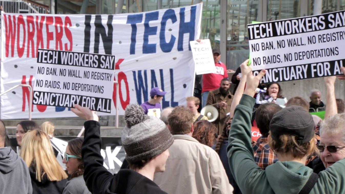 Tech workers protest immigration reform today in SF