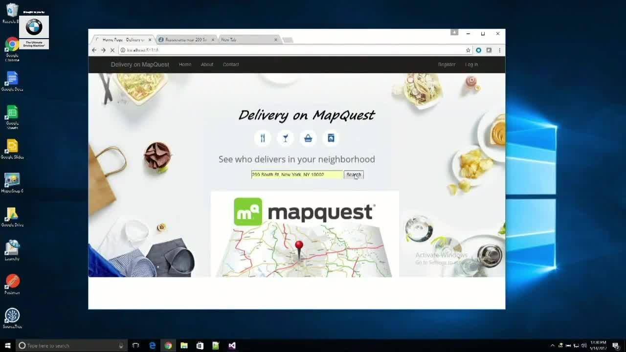 Delivery on MapQuest