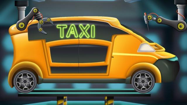 Future Taxi | Modification Car Garage Cartoon | Futu...