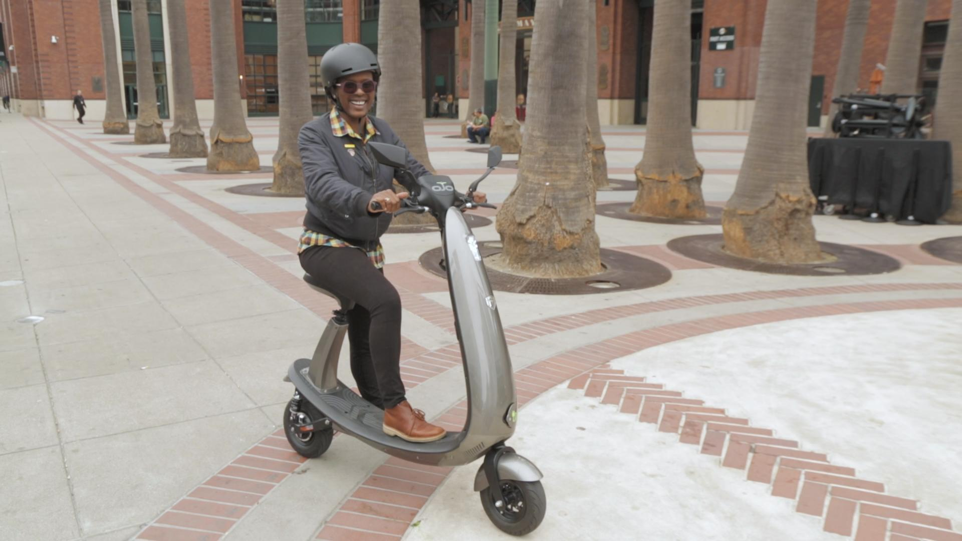 Zipping around town on the OJO electric scooter