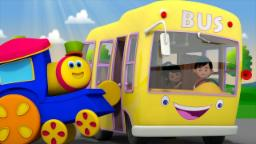 Yellow Wheels On The Bus | Bob The Train Nursery Rhy...
