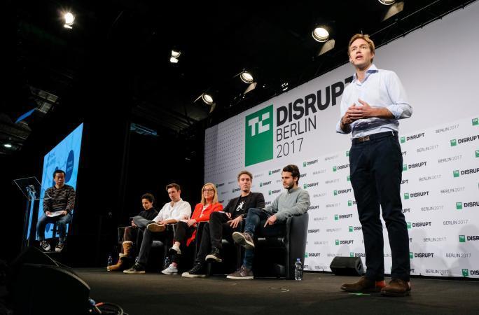 Caspar presents at Disrupt Berlin Startup Battlefield