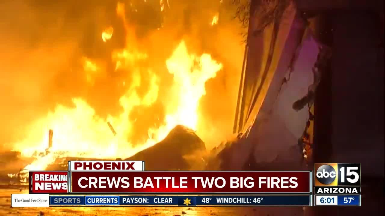 Fire crews battle two large fires in Phoenix on Friday morning