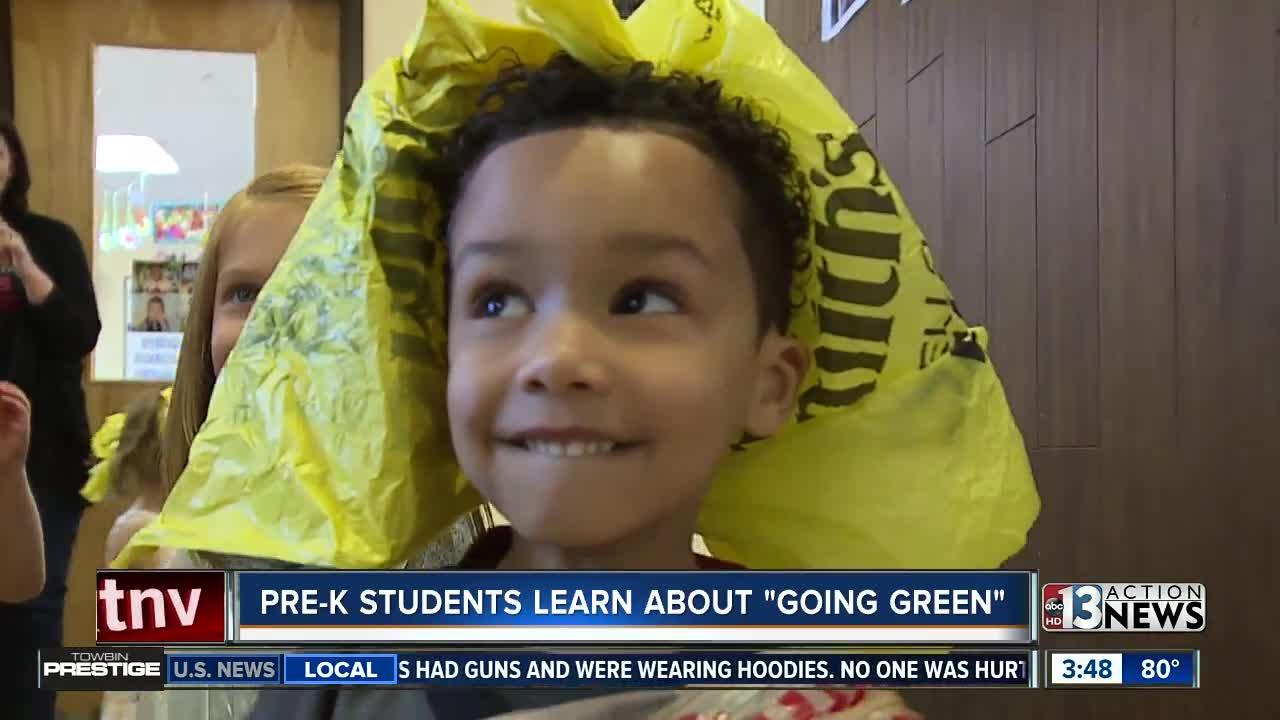 Preschoolers learn about going green with fashion show