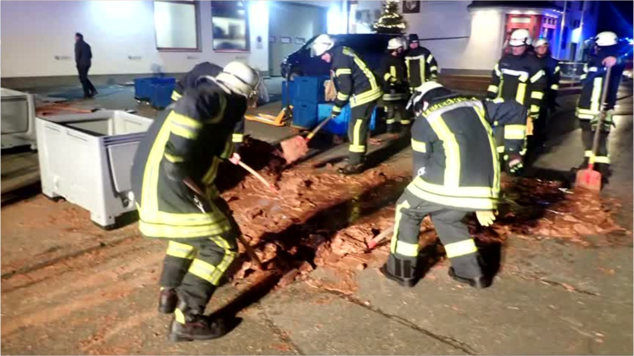 Weird News - Chocolate River Flows Down German Street After Factory Accident