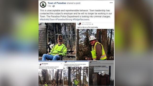 National News - Camp Fire Clean Up Crew Fired After Posting Insensitive Photos