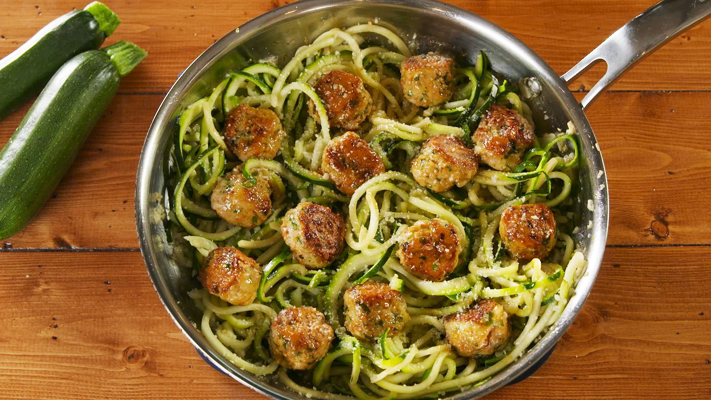 This Easy Meatballs Recipe Uses Chicken And Zucchini Noodles