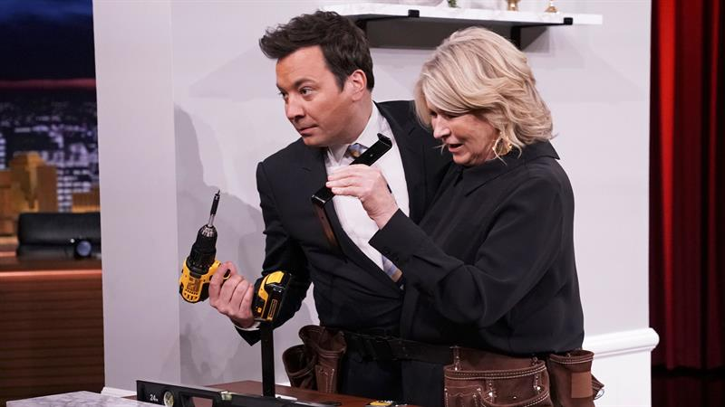 Martha Stewart demonstrates home hacks while strapped to Jimmy Fallon