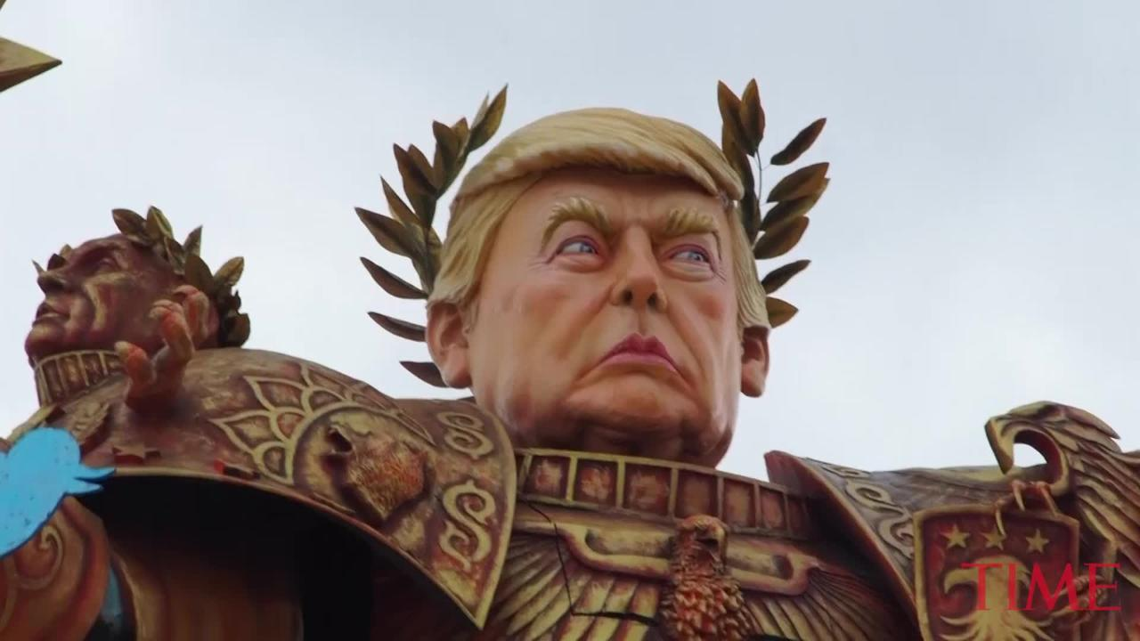 Massive And Terrifying 'God Emperor Trump' Presides Over Parade In Italy