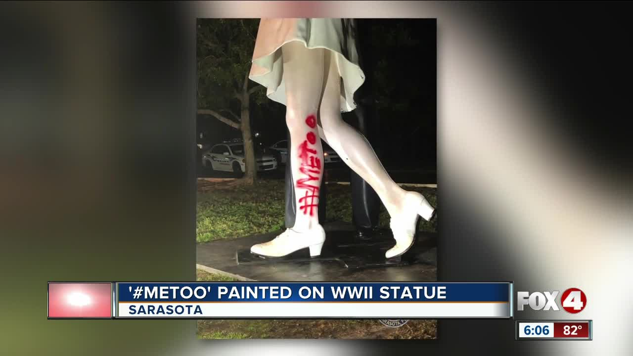 None - Police Seek Vandals Who Defaced 'Unconditional Surrender' Sculpture