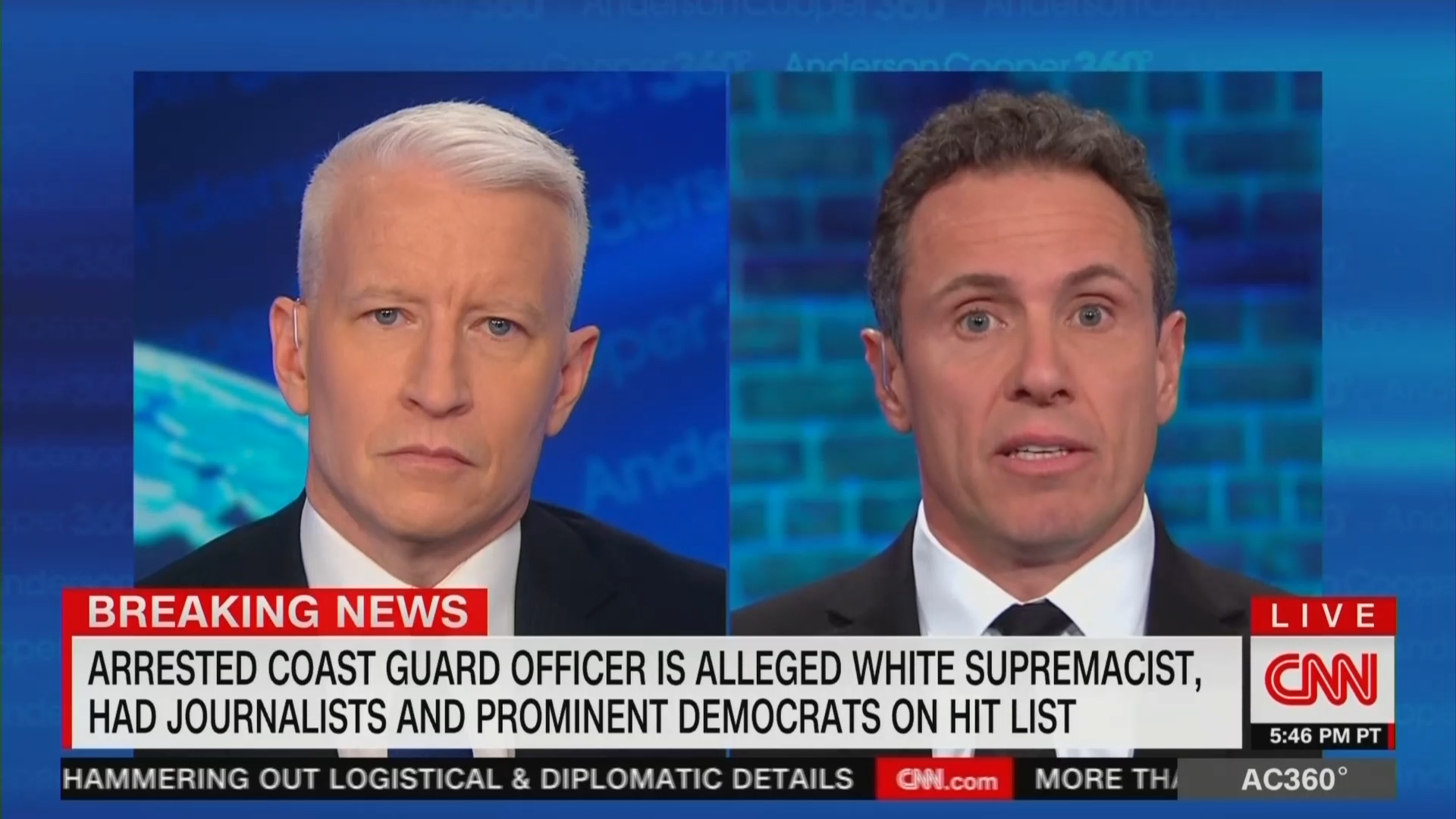 Chris Cuomo concerned with family's safety after showing up on Coast Guard officer's hit list