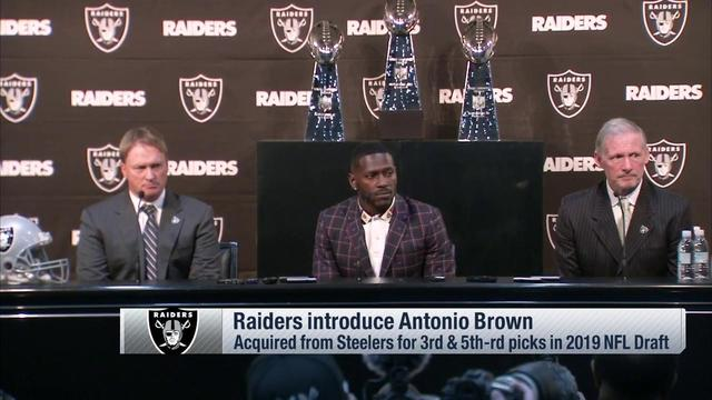 Antonio Brown ditches blond mustache, flanked by Super Bowl trophies in Raiders introduction