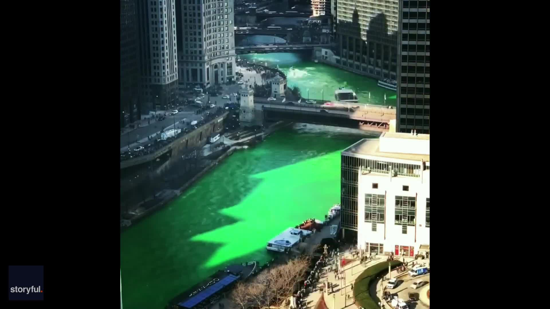 None - Chicago River Dyed Green For St. Patrick's Day