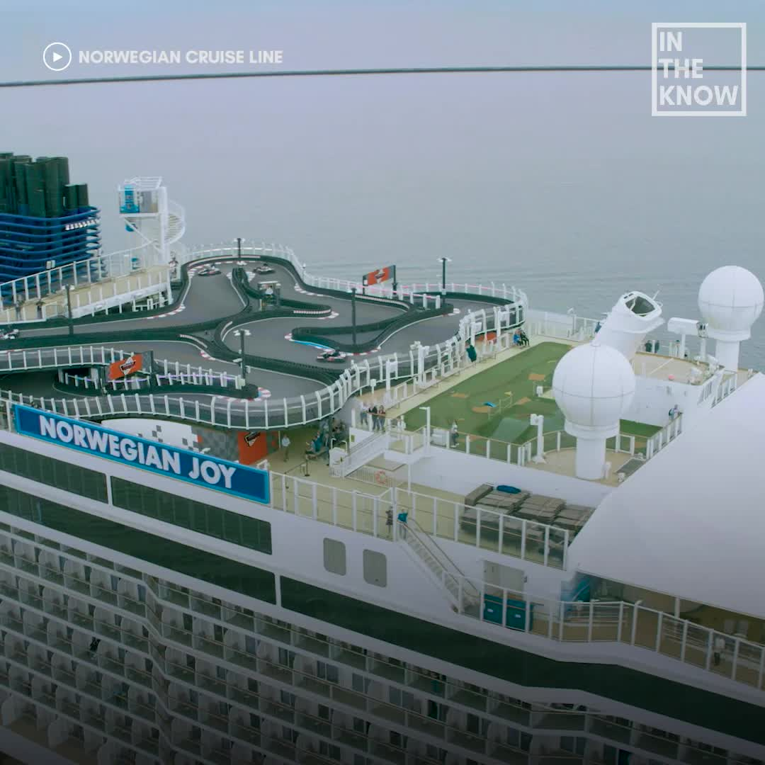 These cruise ships have giant go-kart race tracks on board