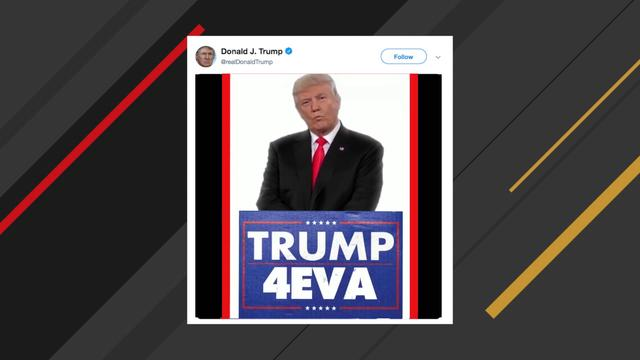 Trump tweets video that depicts him being president forever
