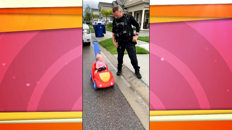 Police officer dad 'pulls over' 10-month-old daughter in adorable video