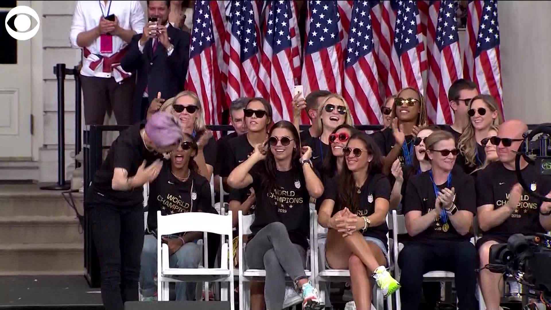 The head of U.S. Soccer mispronounced Megan Rapinoe's name at the World Cup trophy parade, and she danced it off