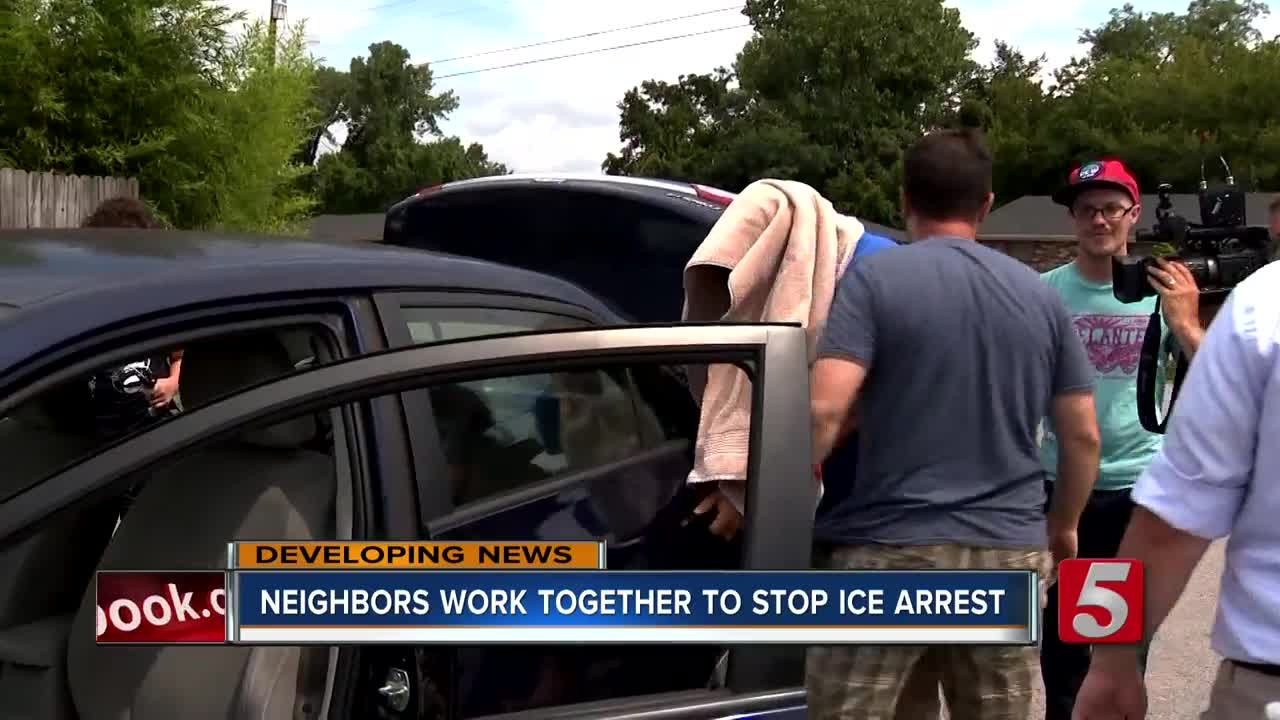 Neighbors Form Human Barricade To Protect Dad And Son From ICE Agents