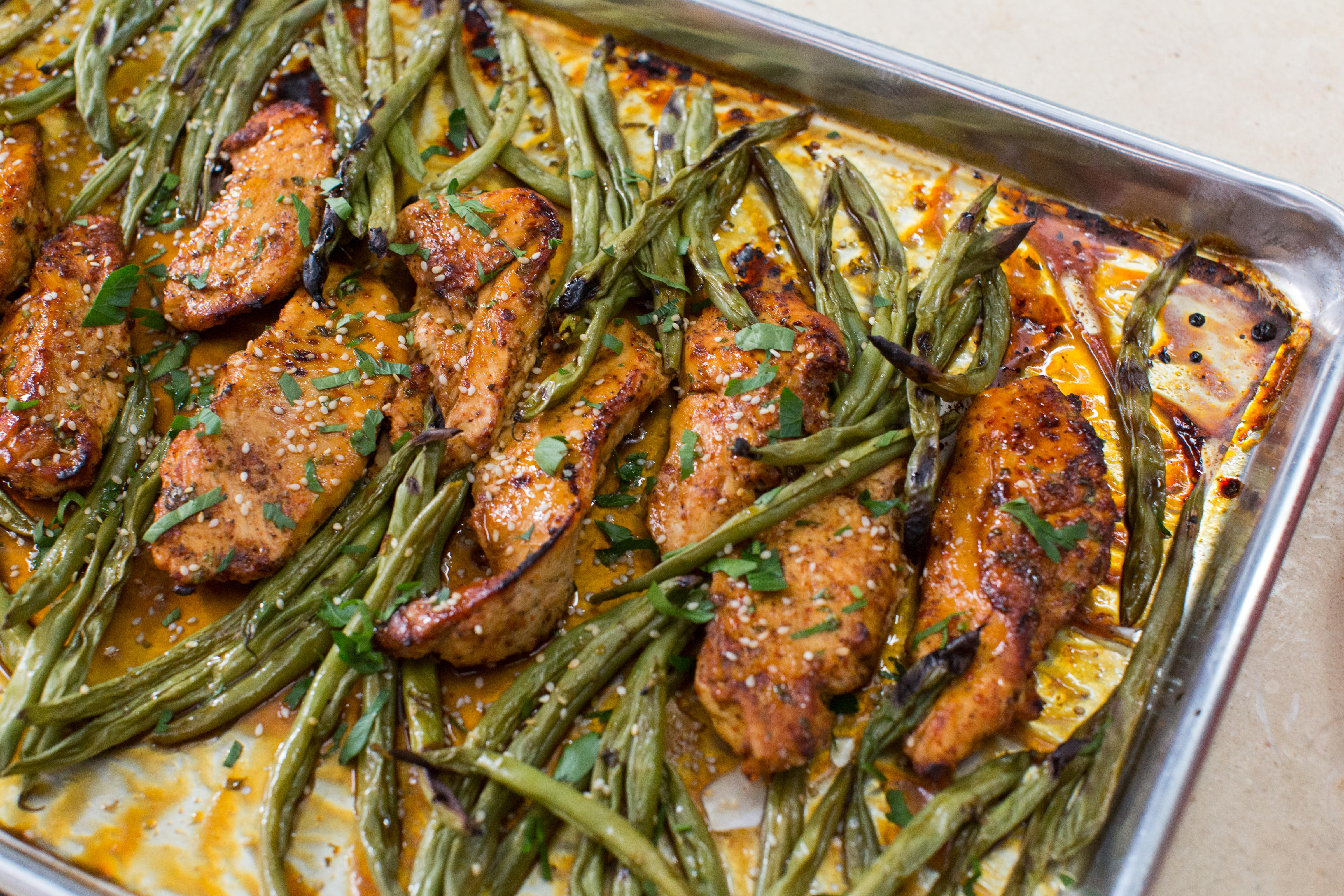 Make this simple honey lemon chicken and green bean sheet pan dinner tonight