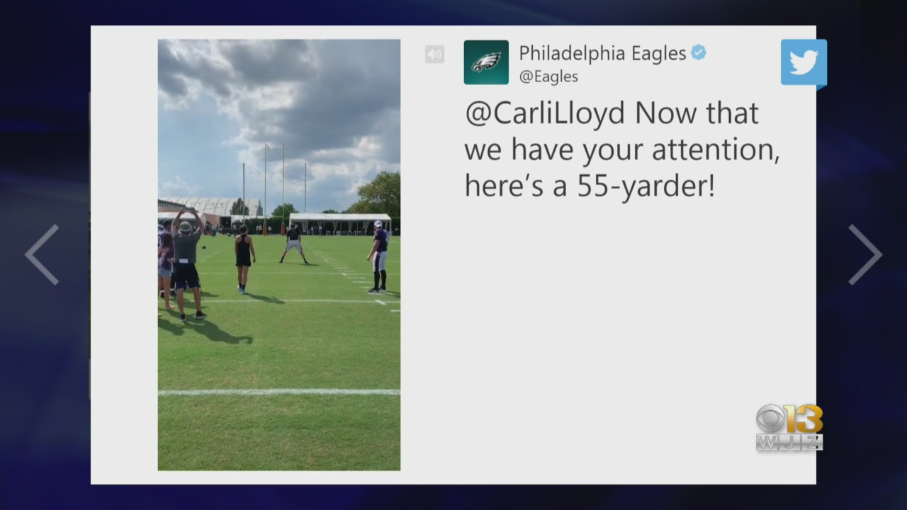 Watch Carli Lloyd Kick A 55-Yard Field Goal At An NFL Practice