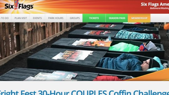 30-Hour Coffin Challenge: Six Flags offering a prize for couples willing to be 'laid to rest' together