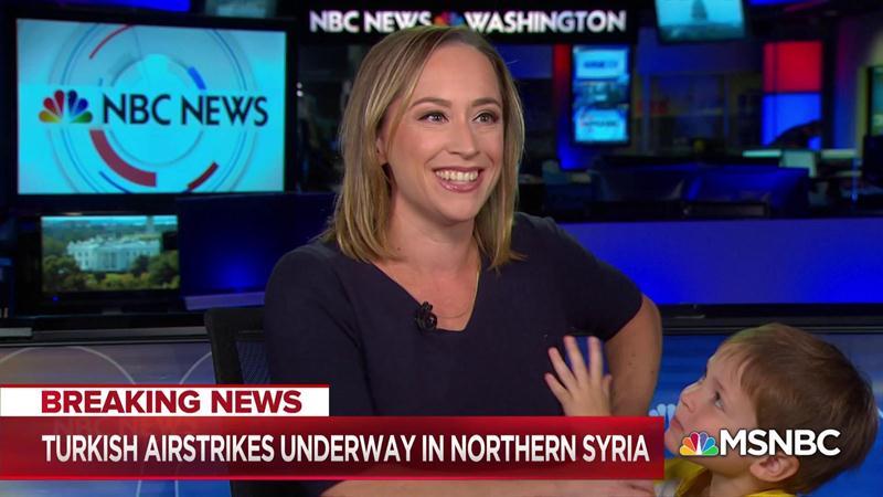 MSNBC's Courtney Kube Deftly Multitasks After Son Wanders On Set