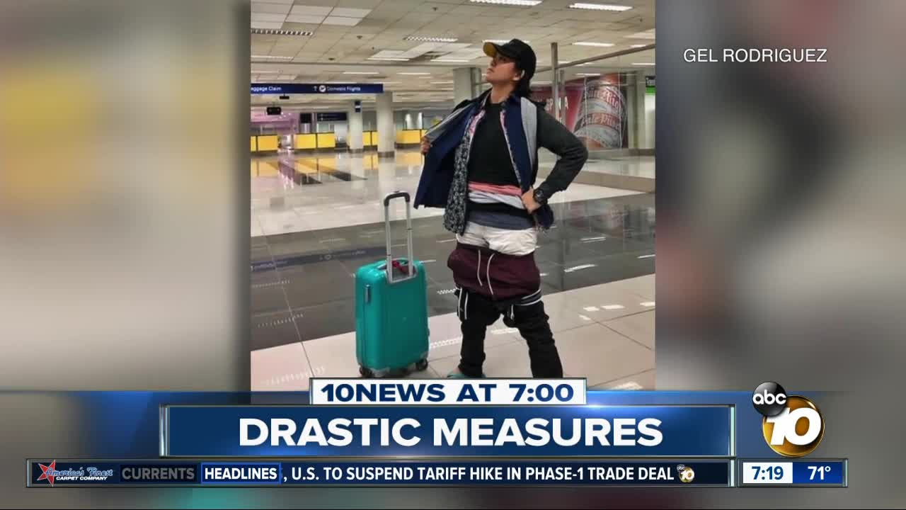 Plane passenger layers on clothes to avoid excess baggage fee