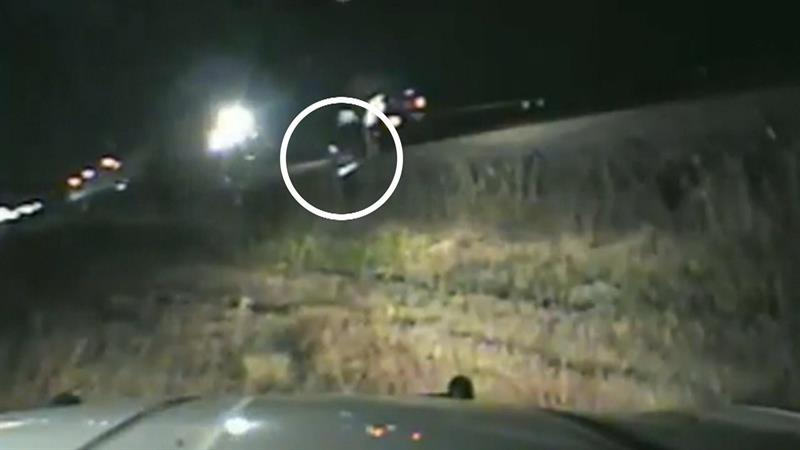 Heart-stopping video captures officer saving driver from oncoming train
