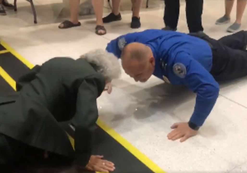 84-year-old Army veteran challenges TSA agent to pushup contest in wild video