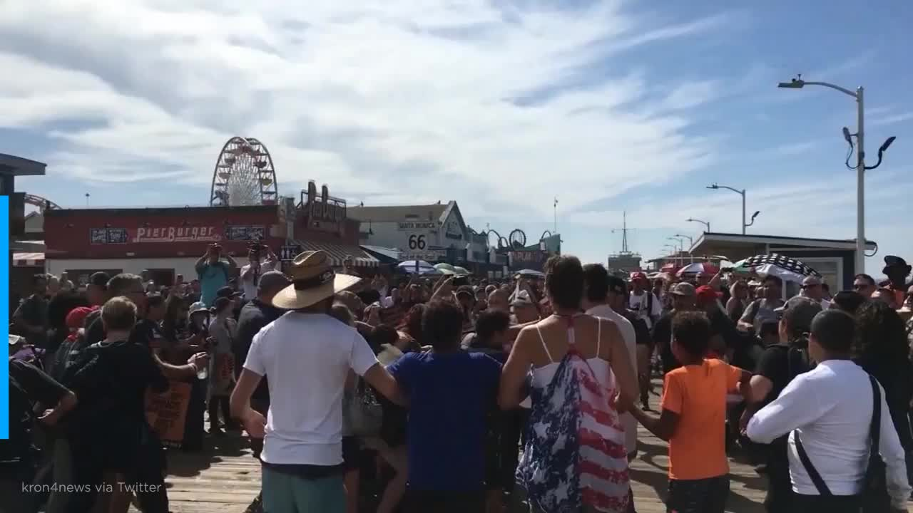 Guy In MAGA Hat Allegedly Unloads Bear Spray Into Crowd Of Anti-Trump Protesters