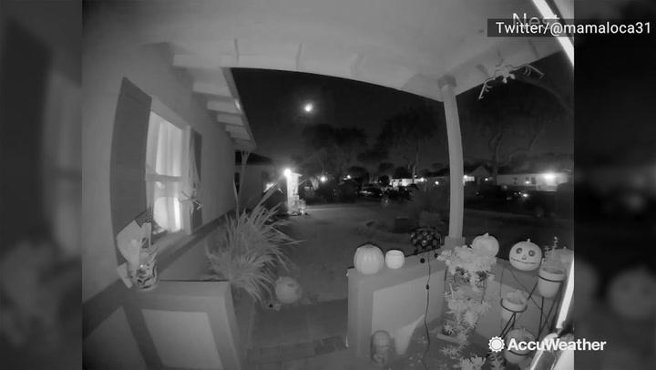 Doorbell camera catches meteor streaking across sky