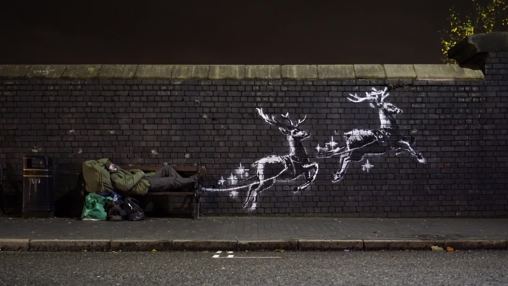 Banksy Makes Poignant Statement About Homelessness With New Reindeer Street Art