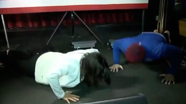 Tulsi Gabbard is challenged to push-up contest at town hall — and wins