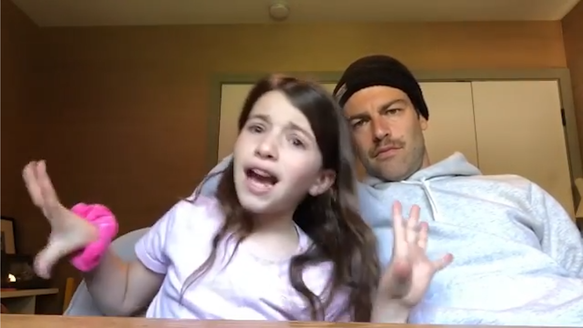 Max Greenfield homeschools his daughter during quarantine