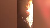 Man sets himself on fire and jumps to swimming pool