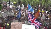 Anti-lockdown protesters march from St James Park to BBC HQ in London