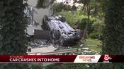 Car fleeing accident crashes into home